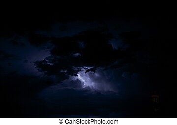Night Storm - Lightning Storm. Dark Stormy Sky with...