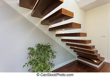 brillante, espacio, -, Escaleras, planta