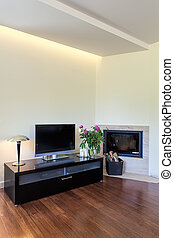 Bright space - tv and fireplace - Bright space - a modern tv...
