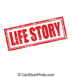 Life Story-stamp - Grunge rubber stamp with Life...