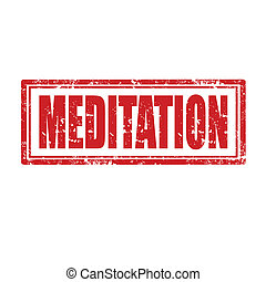 Meditation-stamp - Grunge rubber stamp with word...