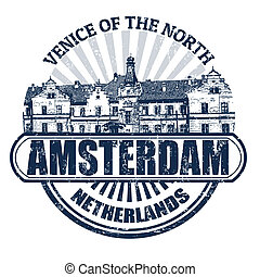 Amsterdam stamp - Grunge rubber stamp with the name of...