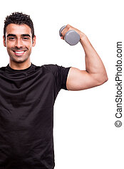 Man lifting weights - Smiling man lifting weights over white...