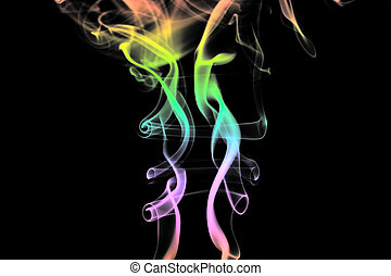 Abstract smoke. Isolated on a black background