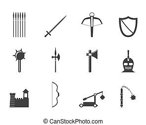 Silhouette medieval arms icons