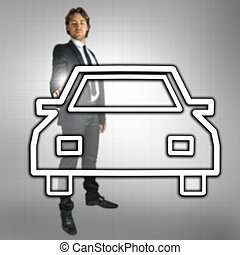 Car dealership - Businessman pointing at car icon on virtual...
