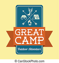 camping design - camping design over cream background vector...