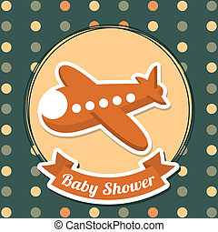baby shower design over dotted background vector...