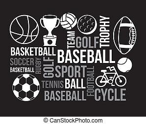 sports poster over black background vector illustration