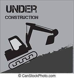 under construction over gray background vector illustration