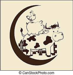 farm design over pink   background vector illustration