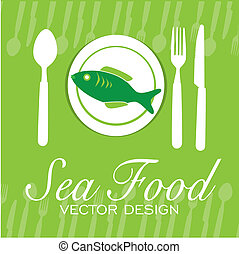 sea food - sea food design over green background vector...