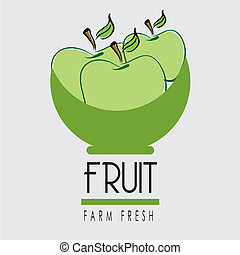 fruit label over white  background vector illustration