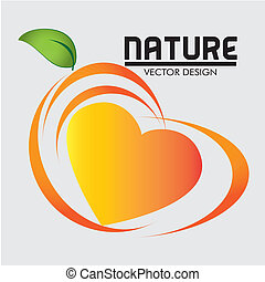 nature food label - nature food label over white background...