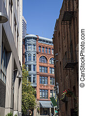 Alleyway Opens On Pioneer Square in - Looking down an urban...