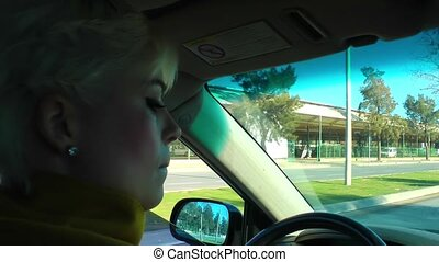 Woman is driving