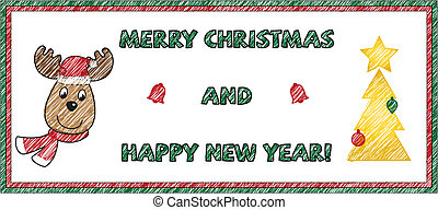 Marry Christmas card - Isolated sketched marry christmas and...