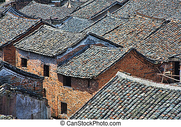 Ancient Town - Roof tops of an ancient town in Hunan China