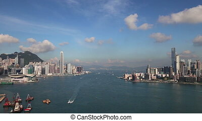 Hong Kong Skyline - Unique view of Victoria Harbour in Hong...