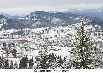 Winter settlement. - Settlement in Carpathian Mountains in...