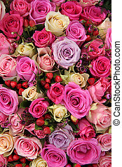 Bridal rose arrangement in various shades of pink - Bridal...