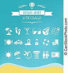 Travel Flat Icon Set with Lable Vector EPS 10