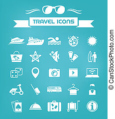 Travel Flat Icon Set with Lable. Vector EPS 10.