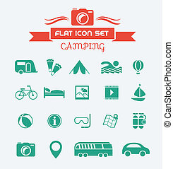 Camping Flat Icon Set with Lable. Vector EPS 10.