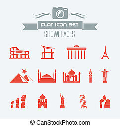 Landmarks Flat Icon Set with Lable. Vector EPS 10.