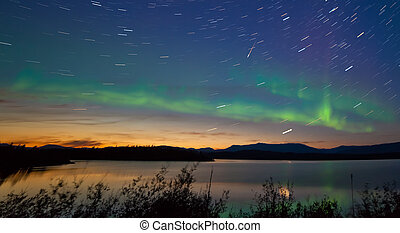 Shooting star meteor Aurora borealis Northern lights -...