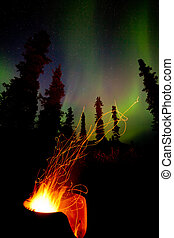 Taiga firepit camp fire sparks and northern lights - Open...