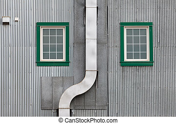 Metal outside duct corrugated iron facade windows - Funny...
