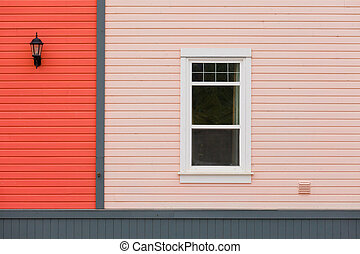 Exterior wall colorful siding window and lamp - Colorful...