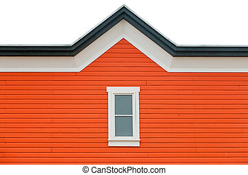 Exterior wall orange siding window and roof trim - Orange...