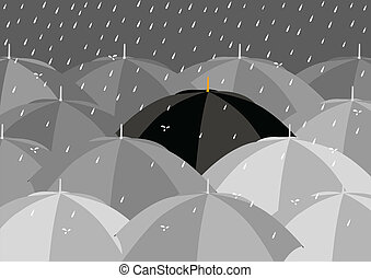 Raining - Black umbrella among lighter colour umbrellas