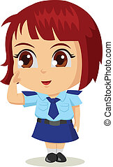 Cartoon Police Woman - Cute cartoon illustration of a...