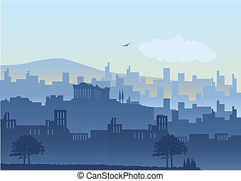 Athens - An illustration of Athens skyline