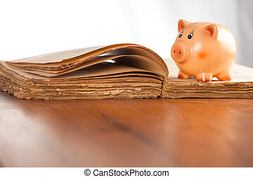 Piggy bank on the old book - Piggy bank on the opened old...
