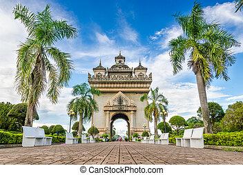 Patuxai monument in Vientiane, Laos - Patuxai literally...