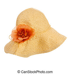 Straw hat with flower isolated over white background