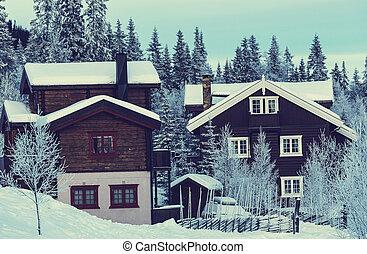 Winter village - street in winter city