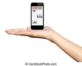 Girl Hand Holding Black Phone - Girl Hand Holding Black...