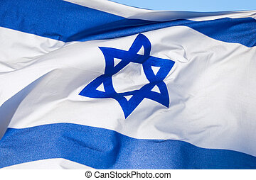 Flag of Israel, depicts a blue Star of David on a white...