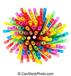 coloreado, plástico, pajas