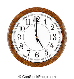 Clock face showing 5 o'clock - A white clock face showing 5...