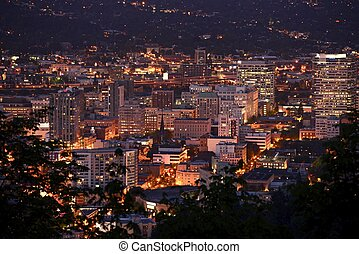 Portland Downtown at Night - Bird View Photography....