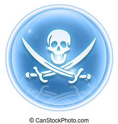 Pirate icon ice, isolated on white background