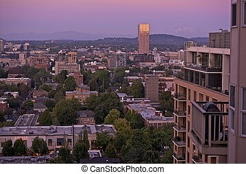 Portland Sunset - Portland Oregon and Snowy Peak of Mount...