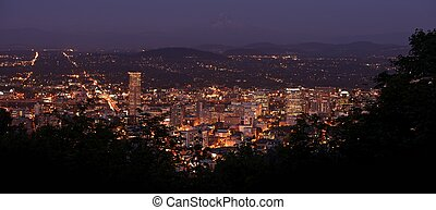 Portland Panoramic Photography at Night. Portland, Oregon...