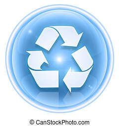 Recycling symbol icon ice, isolated on white background.